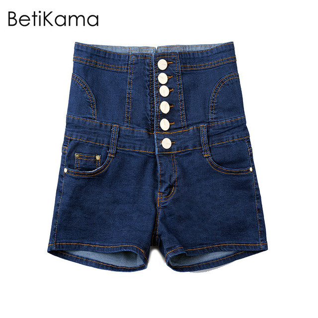 4016e367b6 Betikama Jean Pantalones cortos mujeres verano señoras algodón spandex  mezclilla Pantalones cortos pantalon corto Mujer alta