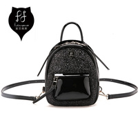 FULANPERS Women Mini Glitter Backpack Female Small Leather Black Bag Stylish Back Pack Backpacks For Teenagers