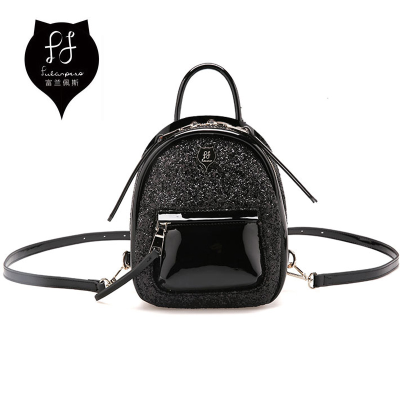 FULANPERS Women Mini Glitter Backpack Female Small Leather Black Bag Stylish Back Pack Backpacks for Teenagers Girls School Bags