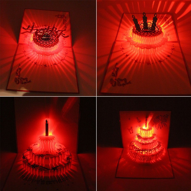 Happy Birthday Card Cake 3D Pop Up Greeting Music LED Postcard Gift Tarjetero