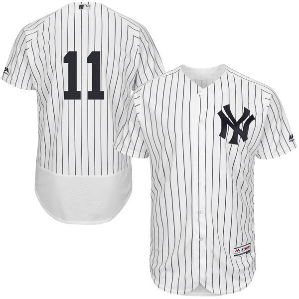 MLB Mens New York Yankees Brett Gardner Baseball Home White/Navy Flex Base Authentic Collection Player Jersey