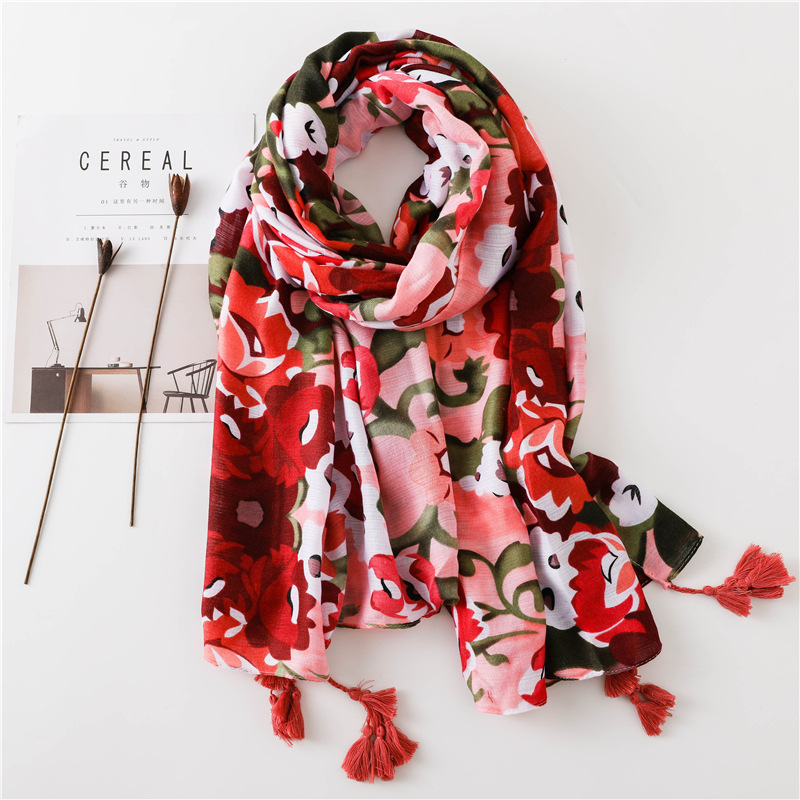 2018 Luxury Brand Indian Floral Tassel Viscose Shawl   Scarf   Women   Wraps   and Shawls Big Size Pashmina Muslim Hijab Echarpe Foulard