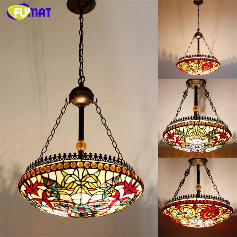Antique Style Tiffany Suspension Lamp Loft Living Room Hotel Corridor Pendant Lamp Restaurant Stained Glass Light