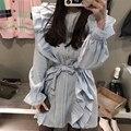 [Chicever] 2017 primavera temperamento babados xadrez flare manga lace up mulheres longas blusas camisa nova tops fashion clothing
