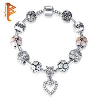 2a840de3c67f Romántico Original esmalte flores cuentas Strand pulsera para mujer Color  plata antigua cristal infinito amor encanto pulsera regalo