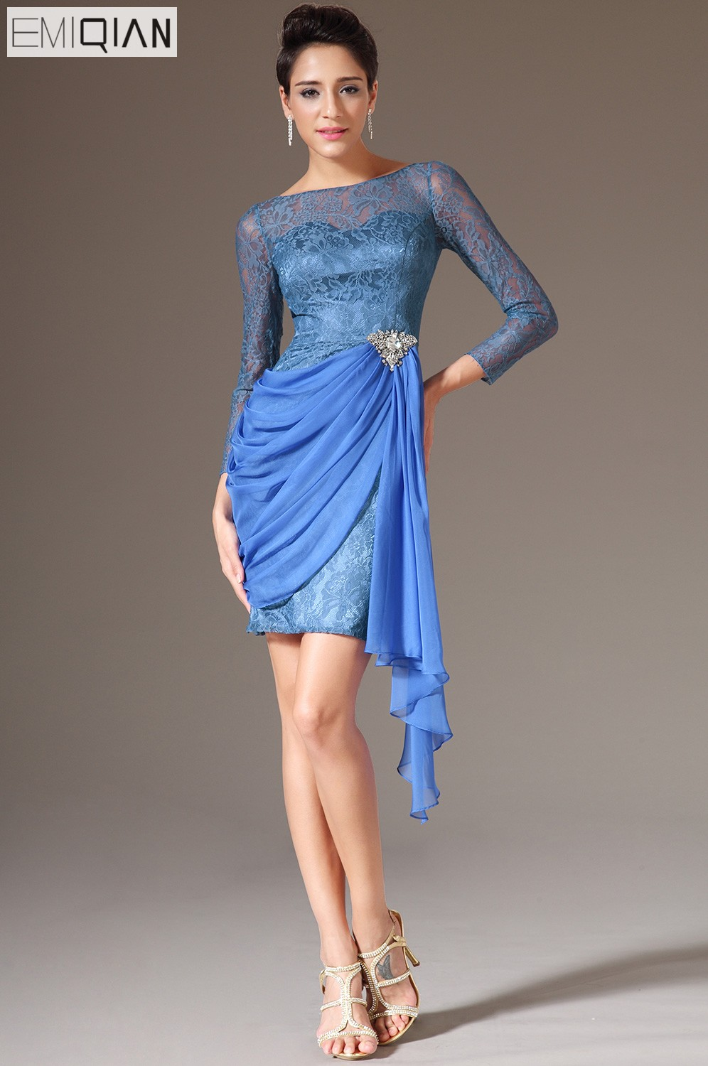 New Blue O-neck Three Quarter Sleeves Homecoming Dress Lace Chiffon Cocktail Dresses