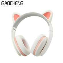 Removable Wi-fi Cat Ear Headphone bluetooth With LED Glowing for PC Laptop Cellular Telephone Greatest Headset For Youngsters Women