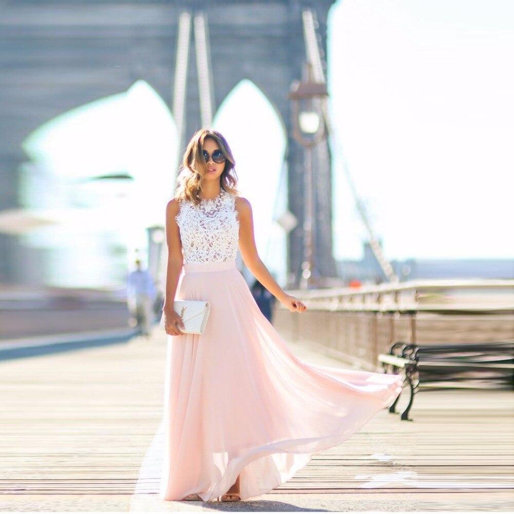 f03712bbcc Rosa claro falda de gasa cremallera cintura una línea piso longitud Maxi  falda suave fino verano Faldas mujeres