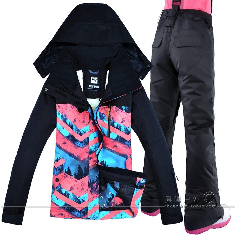 GSOU Ski Costume Femmes Ski Veste Snowboard Pantalon D'hiver Ski Extérieure Imperméable À L'eau Livraison Gratuite Femme Vêtements Winte