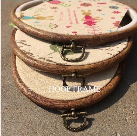 3pcs embroidery flexi hoop wood grain 121520cm plastic hoop frame vintage ring