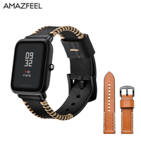 Genuine Leather Strap For Huami Amazfit Strap Leather 20mm For Xiaomi Huami Amazfit Bit Youth Smart