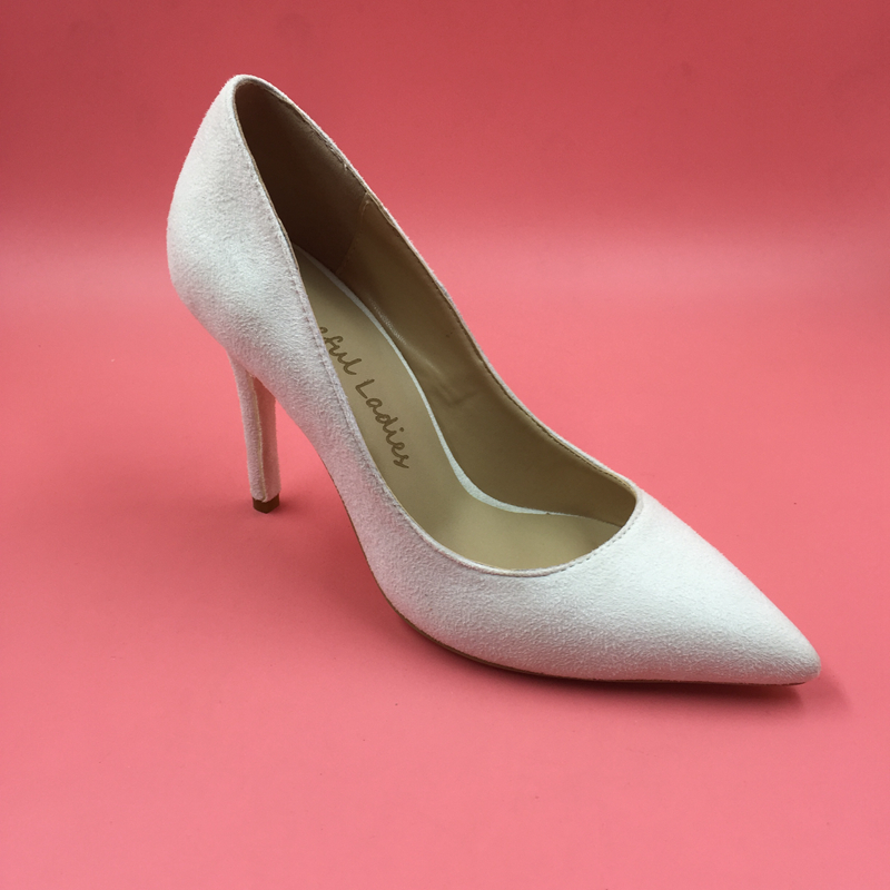 White Suede Pointed Toe Women Pumps
