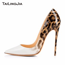 Gradient Colorful Leopard Individualistic Woman Pumps Slip On Ladies Spring Summer High Heel Patent Leather Female Shoes