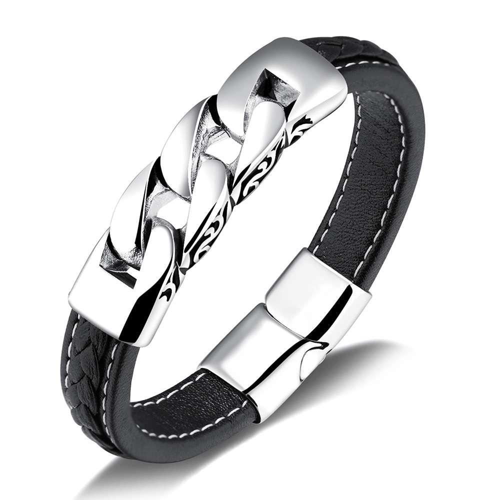 Stainless Steel Bracelets & Bangles 215mm Men Leather Bracelets Men Jewelry 2017 New Gift for Men(BA102063) fashion jewelry copper color 2 style bracelets mens stainless steel hologram magnet bracelets bangles for man trendy gift