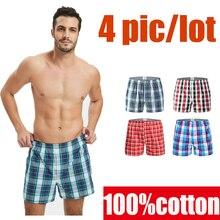 Boxer 4 pièces ample pour hommes, sous vêtement masculin, culotte taille haute, short, vêtement de maison, sous vêtements en coton