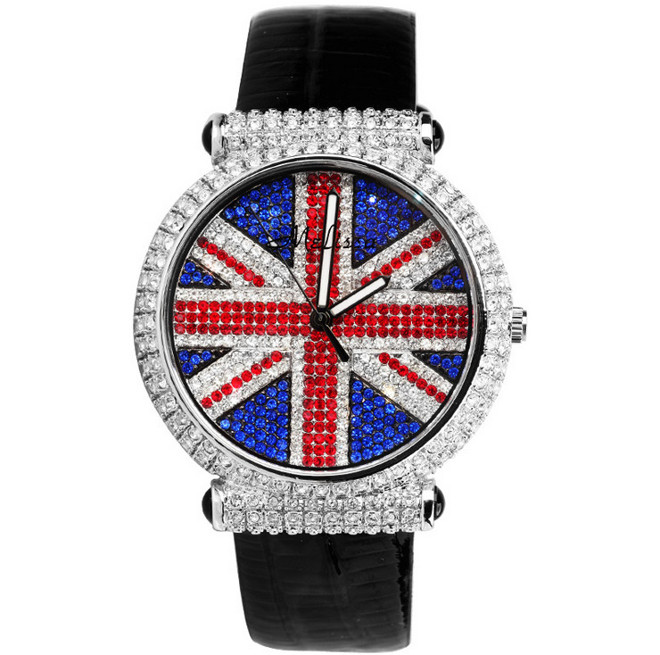 Brand MELISSA Extravagant Colorful Crystals Watches Women Party Dress Watches Vintage England Flag Leather Relogio Femme F6080LBrand MELISSA Extravagant Colorful Crystals Watches Women Party Dress Watches Vintage England Flag Leather Relogio Femme F6080L