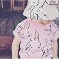 Новорожденных Девочек Мальчиков Кролик Футболка Хлопок С Коротким рукавом Повседневная Футболки Для Детей детская Топы мода причинная майка для девочки
