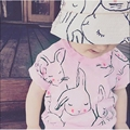 Baby Girls Boys Rabbit Tshirt Cotton Short-Sleeved Casual T-shirts For Kids Children's Tops fashion causal t shirt for baby girl
