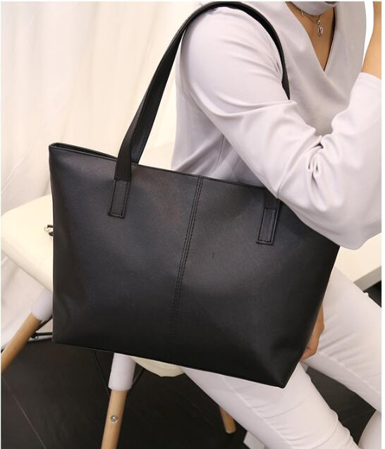 1 Piece 7 Solid Colors PU Leather Handbag Brief Shoulder Bags Gray Black Large Capacity Luxury Tote Shopping Bag
