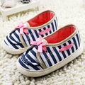 Newborn Princess Bow Striped Baby Shoes Soft Sole Toddler Crib Shoes Comfortable