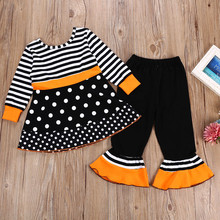 Girl Striped and Dot Ruffle Tops Pants Outfit Set