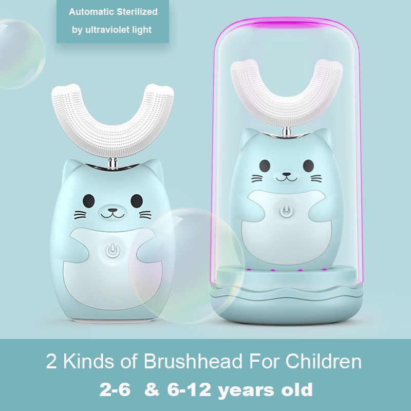 ילד Sonic נטענת חשמלי מברשת שיניים אוטומטי 360 תואר מברשת שיניים אולטרה sonic רך סיליקון חשמלי ילדי מברשת שיניים