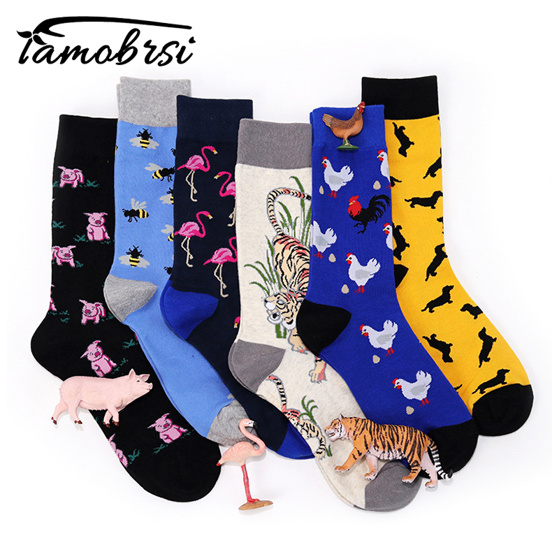Animal Black Pig Chicken Bee Flamingo Tiger Dachshund   Socks   Men Women Funny Warm   Socks   Happy Short Cotton Crazy Male Cute   Socks