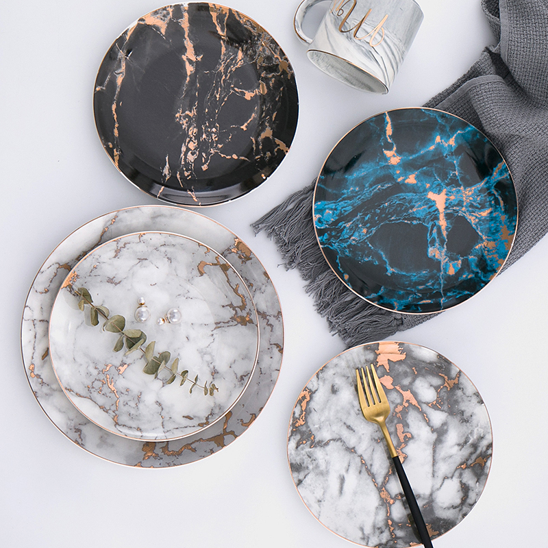 Aliexpress Com Buy 8 Or 10 Inch Marble Ceramic Plate