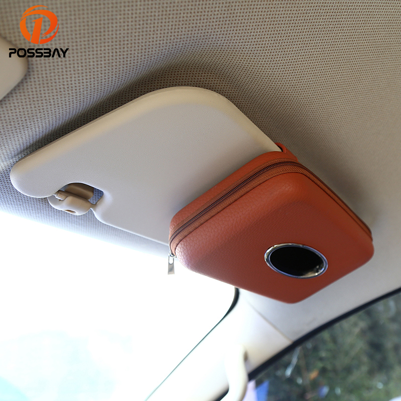 POSSBAY Car Napkin Holder Hanging Tissue Box Auto Sunshade Storage Boxes Microfiber Leather Sun Visor Tissue Paper Holders