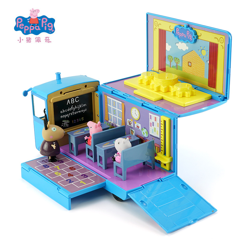 Original Peppa Pig School Bus Variable Classroom Scene Action Figures Toy Love Learning Desk And Chair Toy Set Children Gift