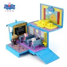 원래 Peppa 돼지 학교 버스 가변 교실 장면 액션 피규어 장난감 사랑 학습 책상과 의자 장난감 세트 어린이 선물