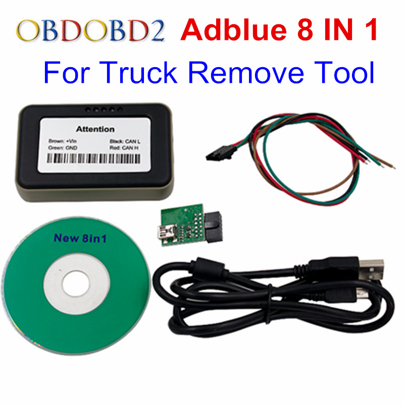 Adblue Emulator 8 in 1 Support Euro 6 Adblue 8 in 1 With Programing Adapter Truck Adblue Emulator With NOX Sensor Remove Tool 2017 newest truck adblue emulator 8 in 1 super quality for mercedes man iveco daf volvo renault and f ord adblue emulator 8 in 1