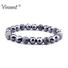 Beads Bracelet Labradorite Hematite Natural-Stone Magnetic Women for Health-Care