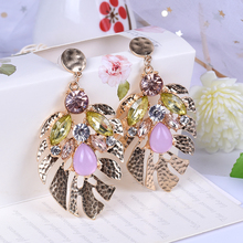 pair of stylish faux turquoise leaf alloy drop earrings for women New Fashion Long Earrings Rhinestone Gold Alloy Drop Earrings For Women Jewelry Big Funny Earrings Old gold Earrings Leaf Earrin
