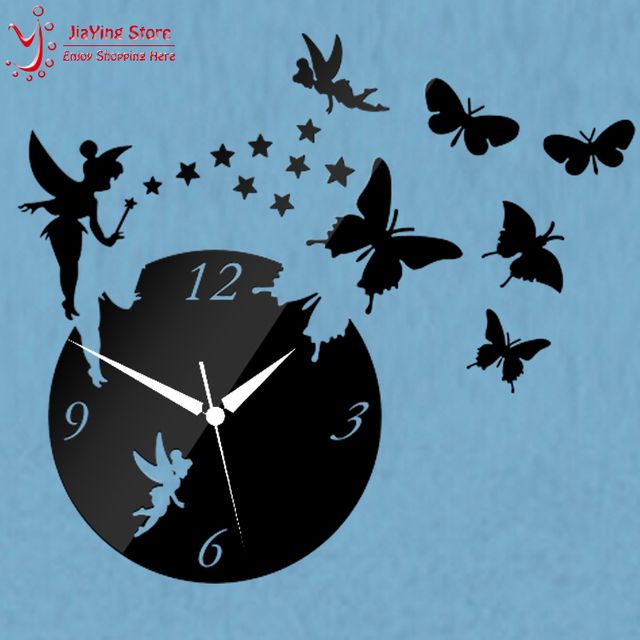 Wholesale Z025 Diy Fashion Home Decoration Butterfly Wall Sticker Mirror  Surface Mirror Clock Decal Living Room