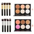 6 colores corrector de sombra de ojos cosmético de la gama + 4 unids pinceaux maquillage polvo colorete fundación pinceles de maquillaje negro set kits