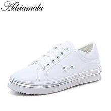 Разделение кожаные белые туфли для женщин Брендовая дизайнерская обувь круглый носок лето-осень модные повседневные толстой подошве обувь на плоской подошве 2017 adriamala