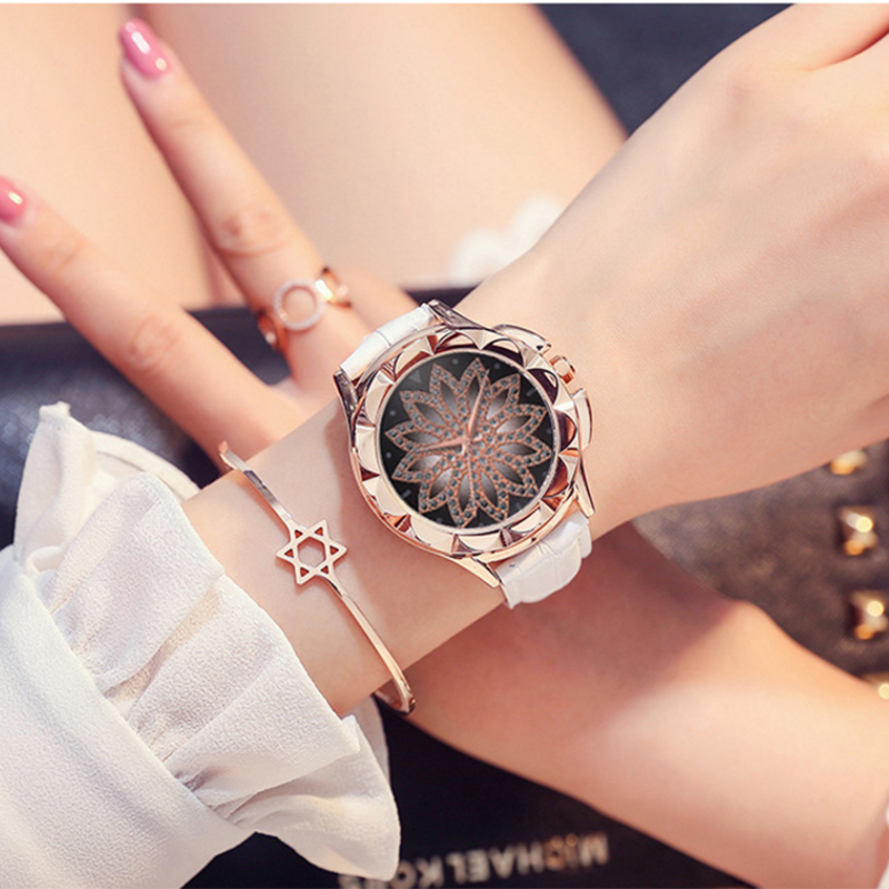 women watch Luxury Brand Wild Ladies Casual Watch Crystal Dress Leather Watch Quartz Watch Woman petal Clock Reloj Mujer