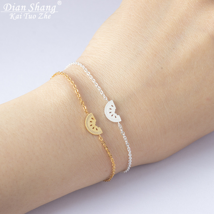 Minimal Honey Melon Fruit Bracelets For Women BFF Jewelry Stainles Steel Charm Watermelon Pulseira Feminina Friendship Bracelet