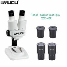 20-40X USB Binocular Stereo Microscope LED Light PCB Solder Mineral Specimen Watch Students Kids Science Education Phone Repair