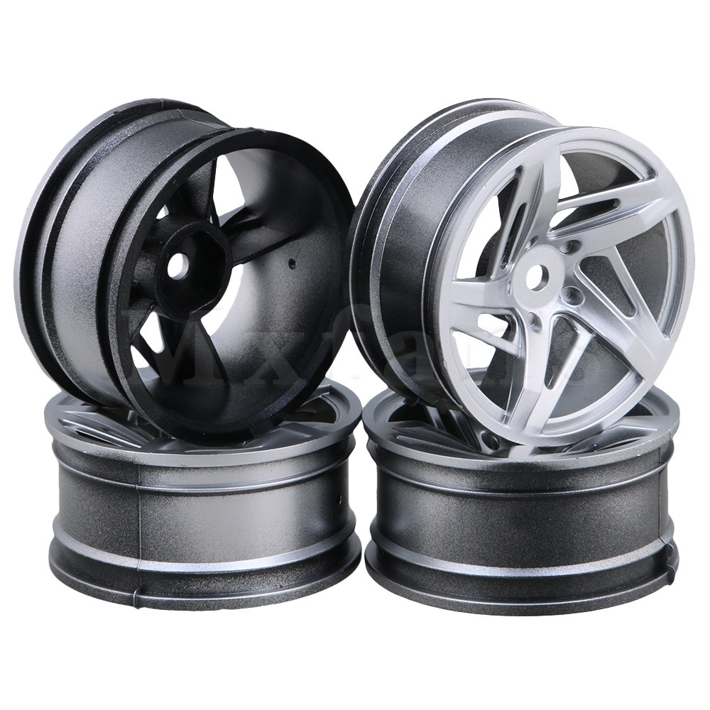 RC 1:10 Drift Car 12mm Silver 3D five-star wheel hub and Tires Pack of 4