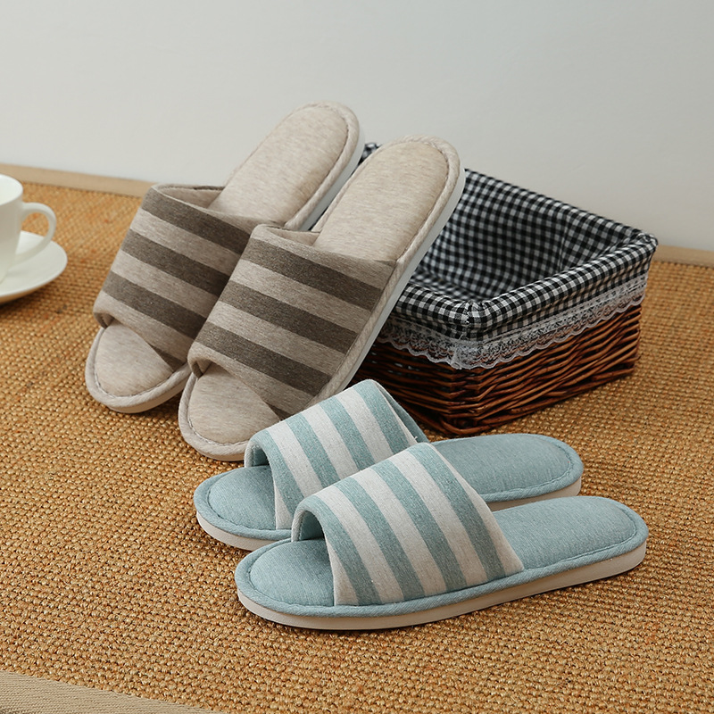 FourSeasons Male And Female Couples Cotton Linen Slippers Home Indoor Wooden Floors Soft Bottom Non-slip Cloth Spring And Autumn