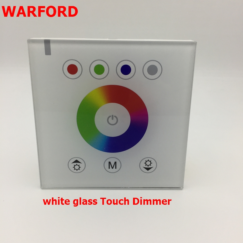 WARFORD DC12V 4A*4CH White/Black Tempered Glass Panel Digital Touch Screen Dimmer Home Wall Light Switch For RGBW LED Strip Tape dc12v 4a 4ch led panel digital touch screen dimmer controller home wall light switch for rgbw led strip tape ribbon 3 channel