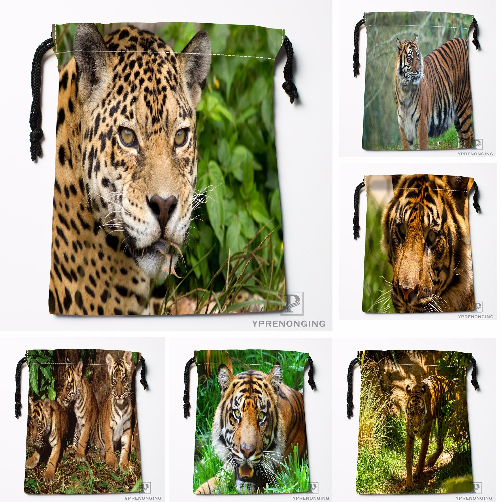 Custom London Sumatran Tiger Drawstring Bags Travel Storage Mini Pouch Swim Hiking Toy Bag Size 18x22cm#0412-04-06