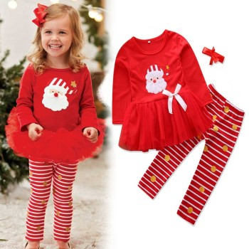 winter baby Girls Clothing set Stripe Long Pants Santa Claus Embroidery girl dress warm new years children's clothing set