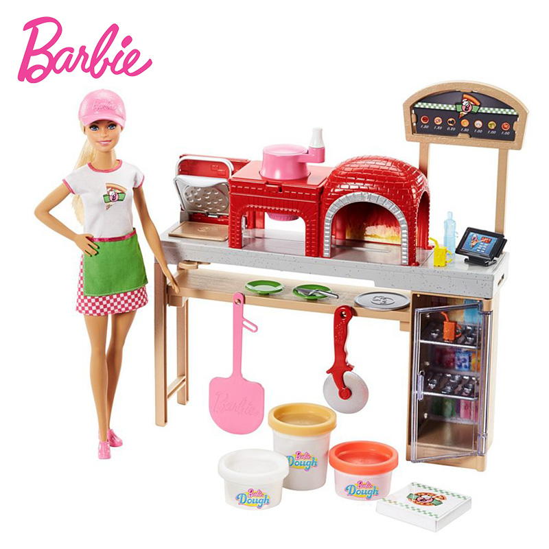 2018 Original Barbie Doll Toy Pizza Making Fun Barbie Dolls and Playset The Girlbrinquedos Girl Toys Barbie Collection Model original barbie toys barbie musician doll & playset barbie dolls set collector model figure all joints toy gift for girls boneca