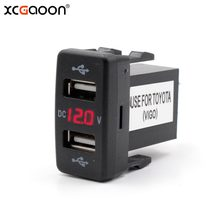 XCGaoon Dedicated 5V 4.2A Dual USB Port Car Charger with LED Voltmeter Fast Charging Auto Adapter Socket For TOYOTA 12-24V(China)