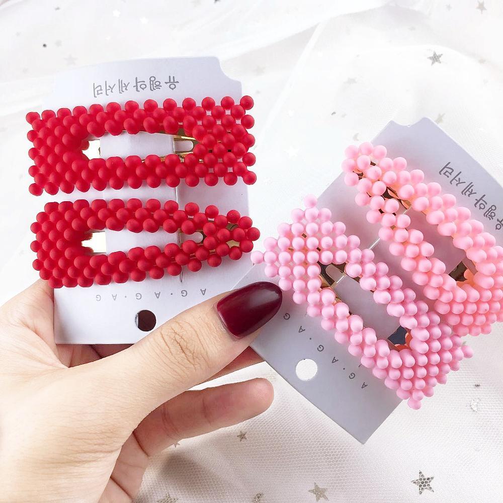 Colored Pearl Hair Clip 2019 New Fashion Women Hair Accessories Girl  Accessories Hairpins Rectangular Barrettes
