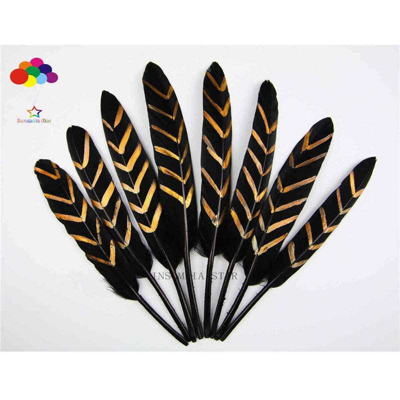 New 100pcs Beautiful white Black Pattern Duck feather 10-15cm 4-6 inches