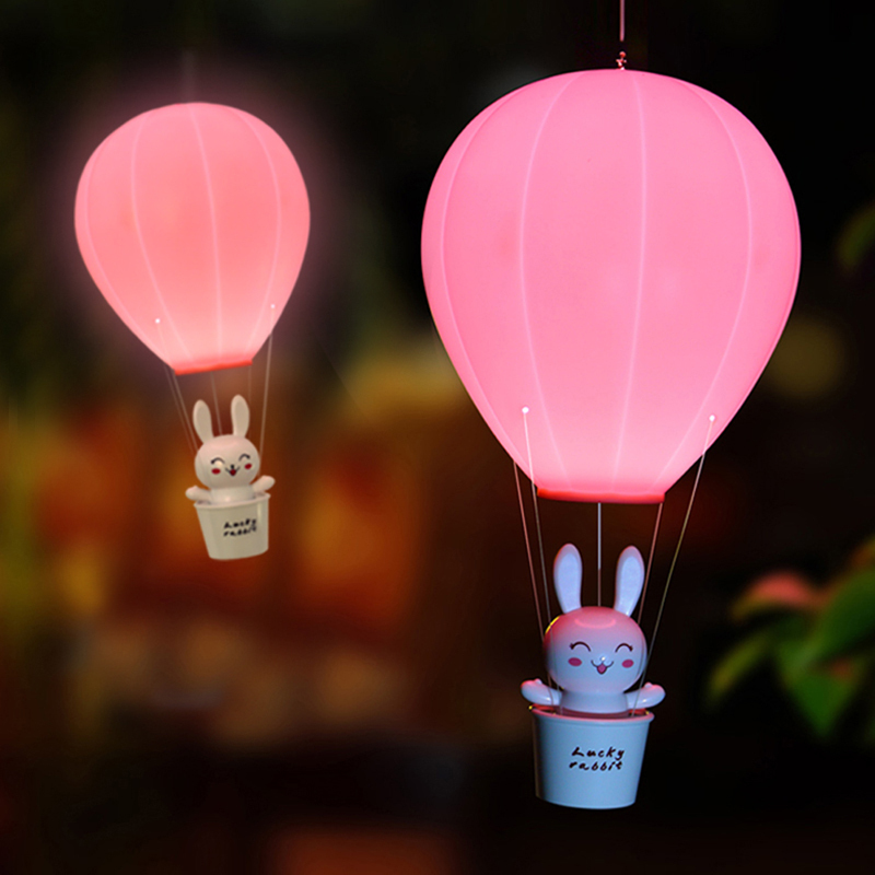 BORUiT Hot Air Balloon LED Night Light Cute Animal Rabbit Lamp Baby Bedroom Bedside Table Lamp Rechargeable Desk Light Wall Lamp litake dimmable hot air balloon led night light children baby nursery lamp with touch switch usb rechargeable wall lamp